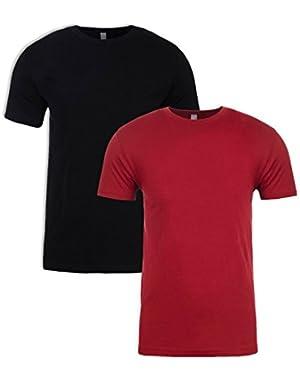 N6210 T-Shirt, Black + Cardinal (2 Pack), Medium