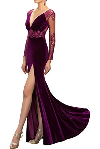V Promkleider Royalblau Ivydressing Schlitz Langarm Samt Damen Tanzenkleider Partykleider Spitze mit Rueckenfrei Sexy Abendkleider Ausschnitt wq8I1Cq