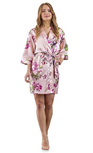 2x Robe - Women's Bridesmaid Satin Kimono Robe (Blush Print, 1X/2X)