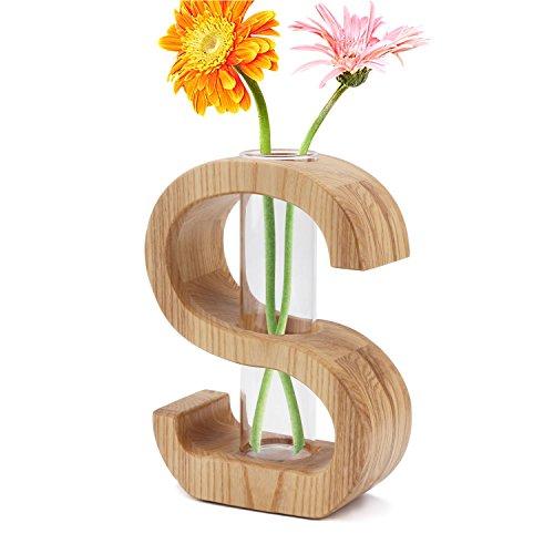 Segarty Creative Design Wood Flower Vase, Flowerpot Table Vase with Insert Glass Tube, Decorative Centerpiece for Home, Office (Fillers Vase Floor)
