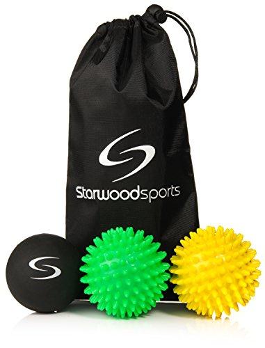 Starwood Sports Massage Ball Set   6 Cm Lacrosse Ball  7 Cm Very Firm Spiky  7 Cm Medium Firm Spiky   Carry Bag