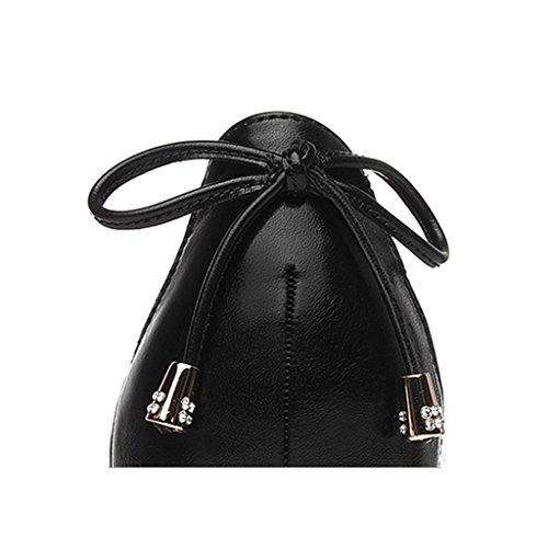 Mme Talon Talon Sunny Couleur Été Chaussures Mi épais Printemps en Simples Nude Chaussures Cuir Noir HwFntqS
