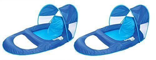 SwimWays Spring Float Recliner Pool Lounge Chair w/ Sun Canopy (2 Pack) | 13022