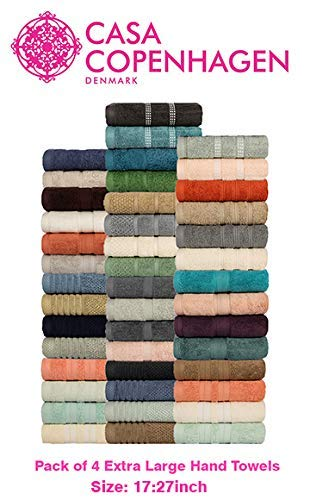 Casa Copenhagen Solitaire Egyptian Cotton 600 GSM 100% Cotton Extra Large Size 17 x 27 inches, 4 Pcs Hand Towels - Assorted Any 4 Pcs Hand Towels