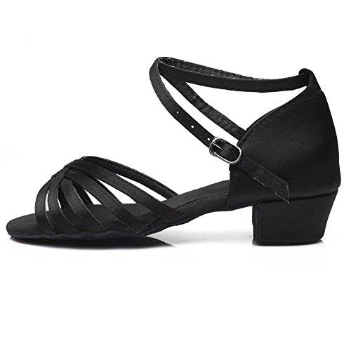 Latin HROYL 601 Girls A3US Dance Women Black Satin Ballroom Shoes qwRaUq6