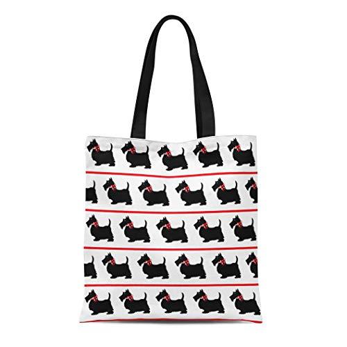 Semtomn Cotton Canvas Tote Bag Scottish Black Scottie Dogs Red Bows Terrier Silhouette Vintage Reusable Shoulder Grocery Shopping Bags Handbag Printed