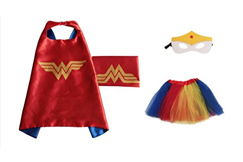 Rush Dance Kids Children's Deluxe Comics Super Hero CAPE & MASK & TUTU Costume (Wonder Woman (Red Blue Yellow (Superhero Yellow And Blue Costume)