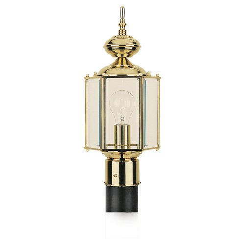 Sea Gull Lighting 2304348 Classico One Light Outdoor Post Lantern, Polished Brass