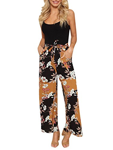 Simplee Women's Casual Pants Floral Print Wide Legs Soft Loose Palazzo Pants Yellow US 4-6