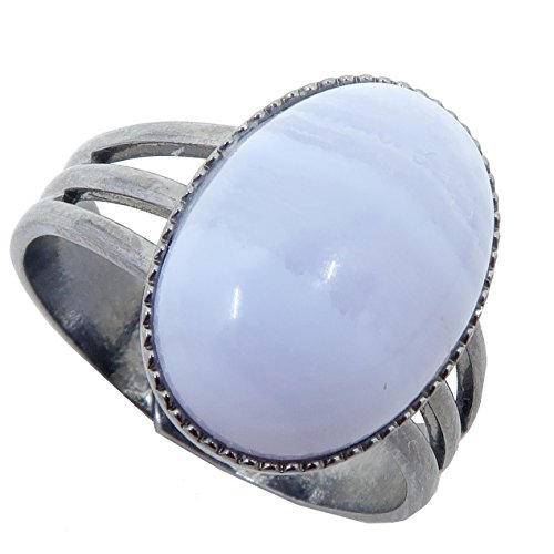Agate Blue Lace Ring 4-10 Boutique Adjustable Metal Cool Blue Banded Gemstone Oval Crystal B02 (Gunmetal 14x10)