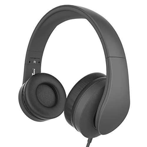 Headphones, JNTworld Headphones with Microphone for Travel, Work, Sport, DJ, Collapsible Classic Headset with Handmade Drivers for iPhone and Android Devices, Black