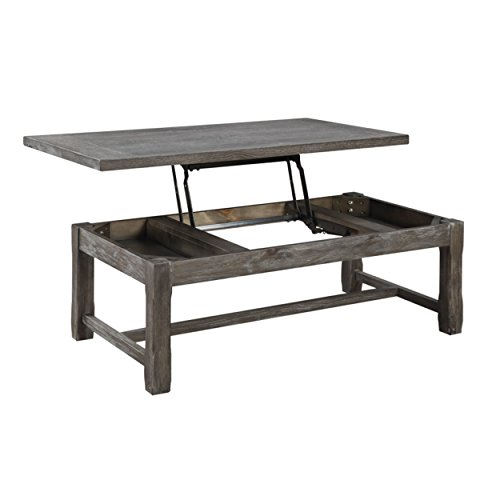 Emerald Home Paladin Rustic Charcoal Gray Coffee Table with Lift Top Storage, Plank Style Top, And Farmhouse Timber Legs (Top Farmhouse Table Plank)