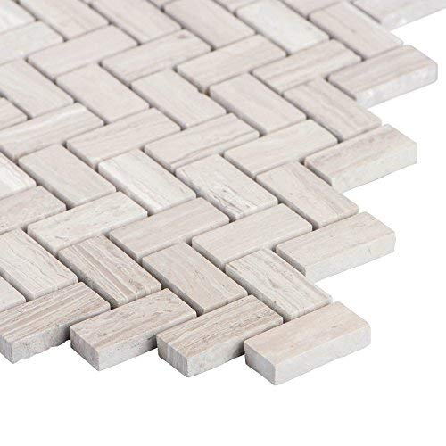 MAYKKE Sadie 10-Pack Small Chevron Mosaic Wall and Floor Tile 12'' x 12'' Herringbone Pattern Kitchen, Bathroom, Laundry Room Backsplash & Flooring Fade Resistant Wooden White Marble, YOA1050202