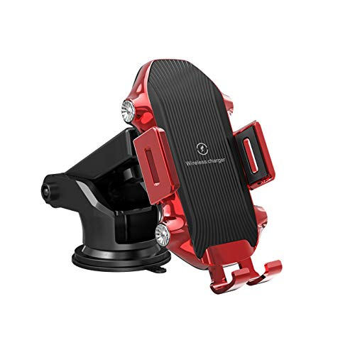 (Wireless Car Charger Mount, Auto Clamping Car Phone Holder,10W Qi Fast Car Charger,Windshield Dashboard Air Vent Compatible with iPhone Xs/Max/X/XR/8/8 Plus,Samsung Note9/S9+/S8 (Red))