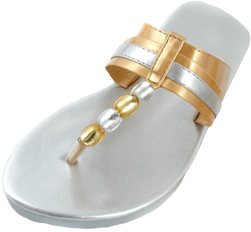 Ladies Sandrocks Beaded Flip Flop With Contrast Strap Silver oQbUABa