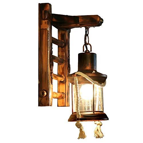 Yaione American Retro Iron Art Wooden Lantern Wall Lamp Kerosene Romantic Living Room Corridor Warm Atmosphere Lighting Wall Light Rural Mediterranean Antique Landscape E27 Log Color Wall Sconce