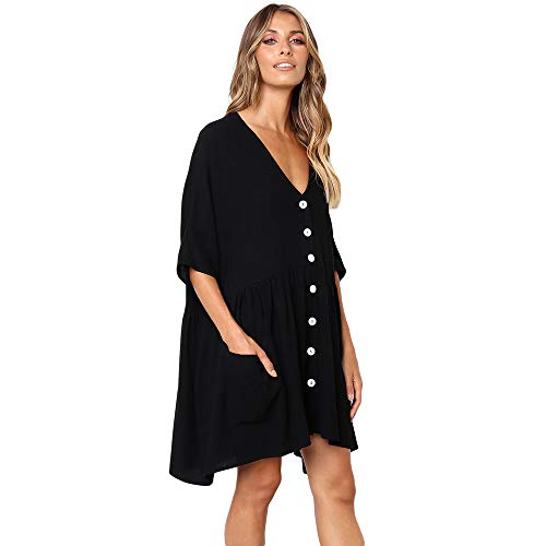 Scioltoo Women's Loose V-Neck Half Sleeve Pleated Knee Elastic Waist Black Dresses for Women Black XL