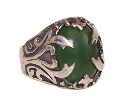 (Falcon Jewelry Sterling Silver Men Ring Handmade, Jade Natural Gemstone, Express Shipping)