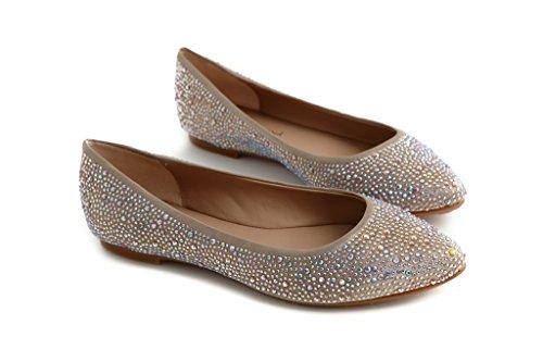 Pretty Nana Donna Ballerina/Flats in Pelle color Taupe e strass Galaxy 501380 (37, Taupe)