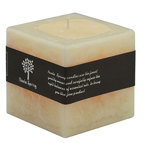 Vanilla Square Pillar (Vanilla Scented Single Wick Square Candle 100x100x100mm. 120hrs Burning Time)