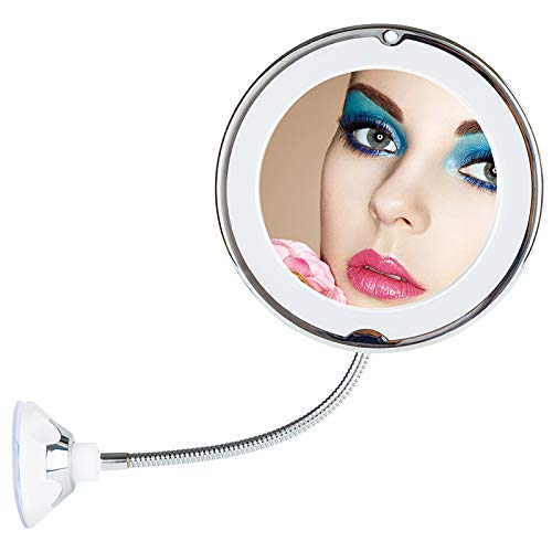 10X Magnifying Flexible Makeup Mirror-TOP4EVER 8 LED Gooseneck Mirror with light, Strong Locking Suction Cup,360 Degree Swivel Rotation