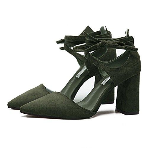 Sandales Talon Cheville Femme Croisées Inconnu Vert Escarpin Pointu Carré Bride Talon Lanières Mode Chaussures zApqIg