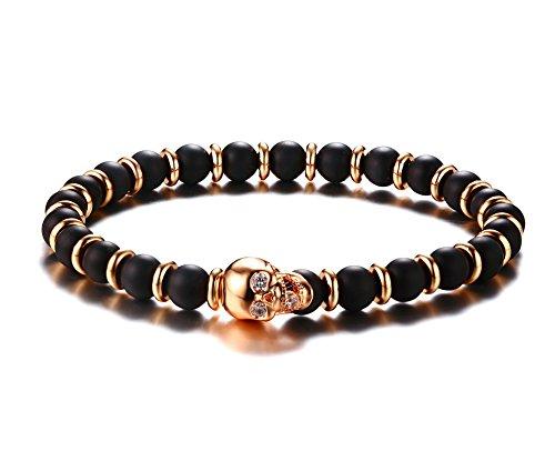 Head Gold Bracelet - PJ Jewelry Unisex Two-tone Agate Beaded Skull head Charm Stretch Bangle Bracelet ,Rose Gold
