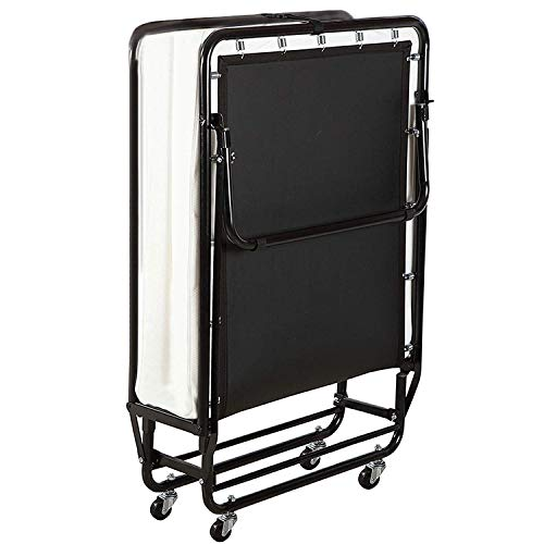 Anah Metal Folding Adult Bed Heavy Frame Folding Bed, Double Bed with Mattress and Wheels