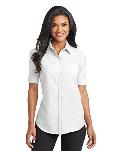 Port Authority Ladies Short Sleeve SuperPro Oxford Shirt. L659 White M