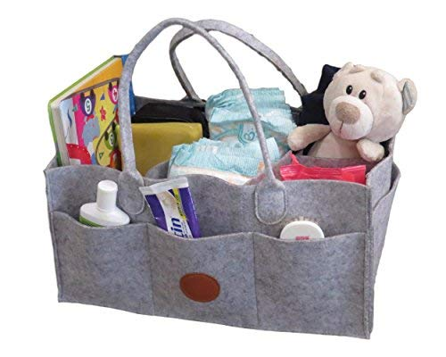Luxe Baby Diaper Caddy Organizer - Portable Diaper Storage Caddy Bag for Diapers, Baby Wipes, Kids Toys and Nursery Storage - Use as Changing Table Organizer Bin at Home or as Car Basket - Grey Felt