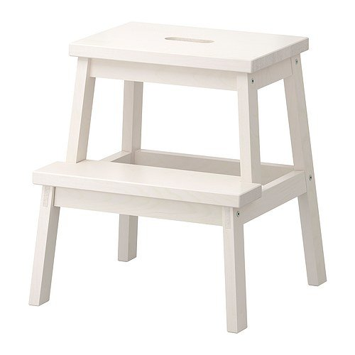 BEKVAM Home Indoor Solidwood Step Stool (White)