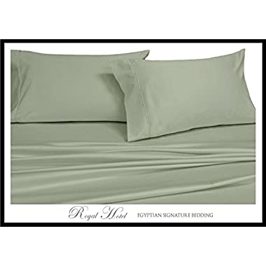 Solid Sage California-King Size Sheets, 4PC Bed Sheet Set, 100% Egyptian Cotton, 300 Thread Count, Sateen Solid, Deep Pocket, by Royal Hotel