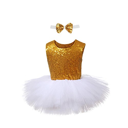 Gold Sequin Tutu Dress Girls White Tulle Dress Sleeveless Party Dress with Bow Tie for Special Occassion Party Wedding Dancing (2-8T)