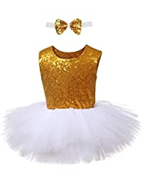 a9966407c Baby Girls Sequin Tutu Dress Sleeveless Tulle Dresses Unicorn Party Dress  with Bow Tie(Black