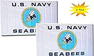 3x5 3'x5' Wholesale Set (2 Pack) USN U.S. Navy Seabees White Flag Banner BEST Garden Outdor Decor polyester material FLAG PREMIUM Vivid Color and UV Fade Resistant