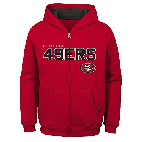 Outerstuff NFL San Francisco 49ers Kids & Youth Boys Stated Full Zip Fleece Hoodie, Crimson, Kids Medium(5-6)