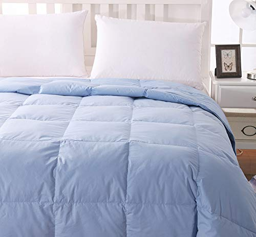 WhatsBedding 100% Cotton Down Comforter Blue Goose Duck Down and Feather Filling,Hypoallergenic. All Season Duvet Insert or Stand-Alone Comforter Blue (King)