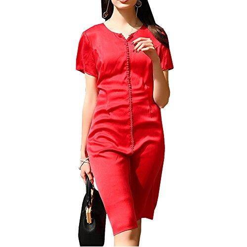 Damen Kleider Gestreift Kleid E Long Rot Übergröße Abendkleid S9980 girl Cocktail Seide Knee TvwHE