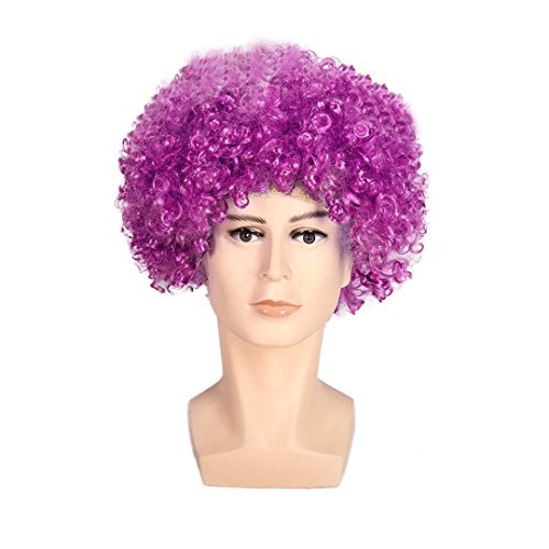 Multifit Unisex Disco Halloween Colourful Party Curl Wigs Mardi Gras Wig Fan Wig Afro Clown Costume for Teens and Adults(Purple) ()