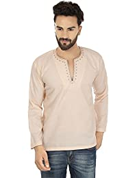 "<span class=""a-offscreen"">[Sponsored]</span>Embroidered Fashion Shirt Mens Short Kurta Cotton Indian Clothing"