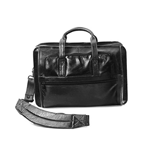 (Winn International Harness Leather Briefcase with Accordion File in Black)