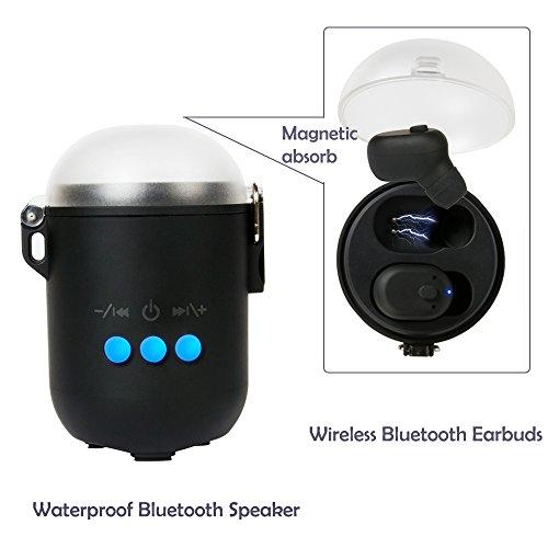 True Wireless Bluetooth Earbuds + Mini Waterproof Bluetooth Speaker, Huatop Stereo Bluetooth Earphone, V4.1 In-Ear Noise Cancelling Headphones for Outdoor Fun / Sport by Huatop