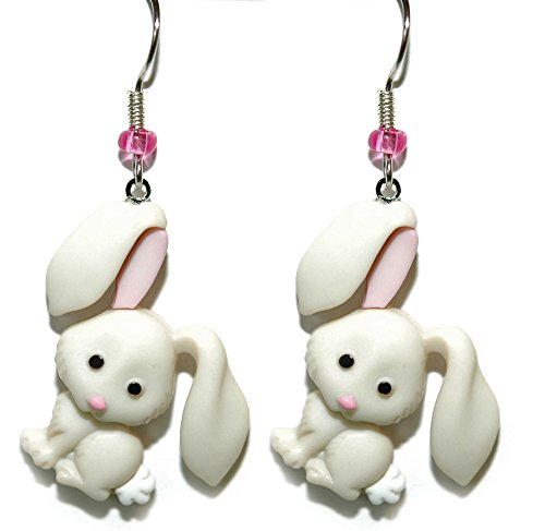Cute Off White & Pink Easter Bunny Dangle Earrings (H066)