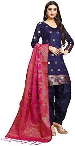 Ethnic Junction Women's Chanderi Silk Jacquard Unstitched Salwar Suit Material With Banarasi Dupatta