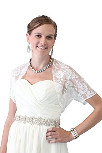 Jackets Bridal Bolero (Ivory Lace Bolero Jacket With Short Sleeve-S)