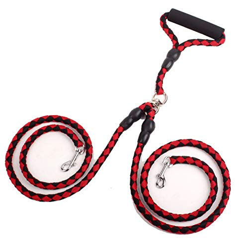 HANSHI Double Dog Lead Red Durable Walking Anti Pull Training Leads No Tangle W Soft Handle for Two Small//Medium Dogs HCW211
