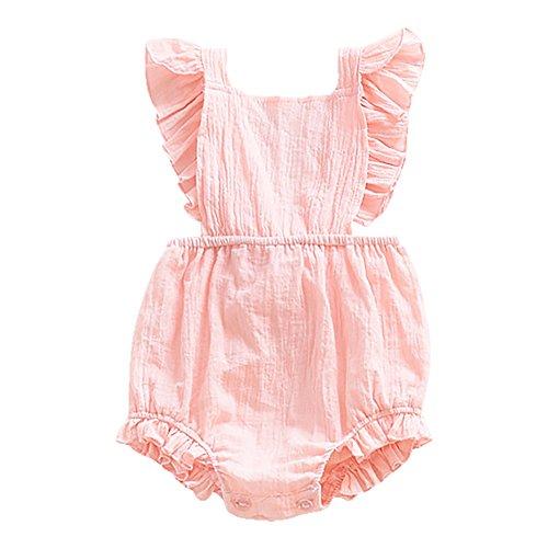 Weixinbuy Toddler Baby Girls' Sleeveless Ruffled Backless Romper Jumpsuit - Ruffled Shirt Girls
