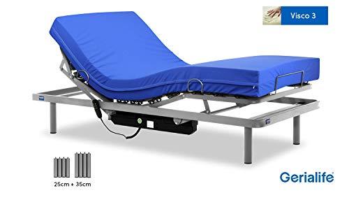 Gerialife Cama articulada con colchon Sanitario viscoelastico Impermeable (105x190)