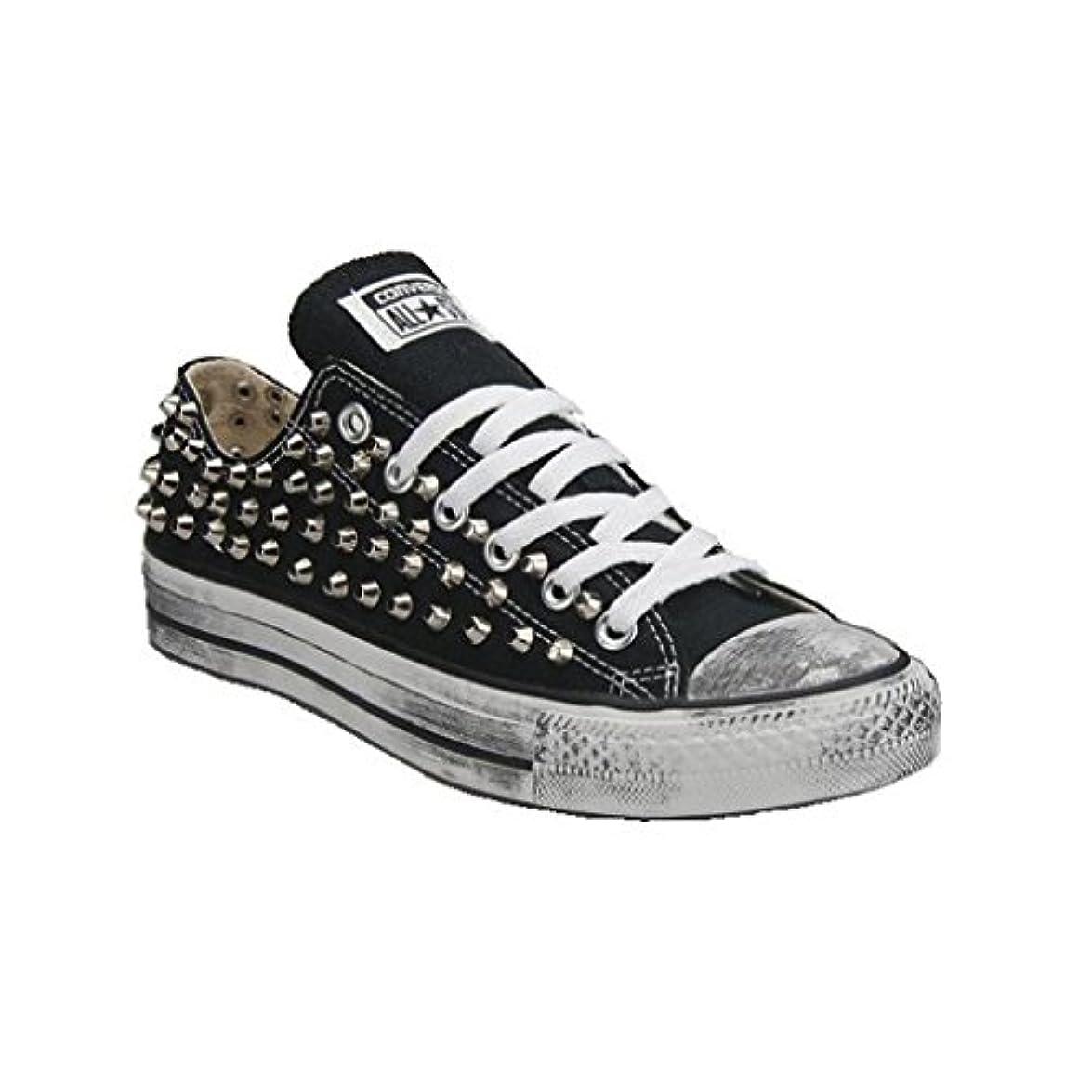 21 Shoes Converse All Star Nera Bassa Borchiate artigianali Con Borchie Cono Argento Effetto Invecchiato