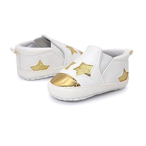 Hunpta Baby Girl Boys herzförmige Stickerei High Cut Schuhe Sneaker Anti-Rutsch Soft Sole Kleinkind Gold